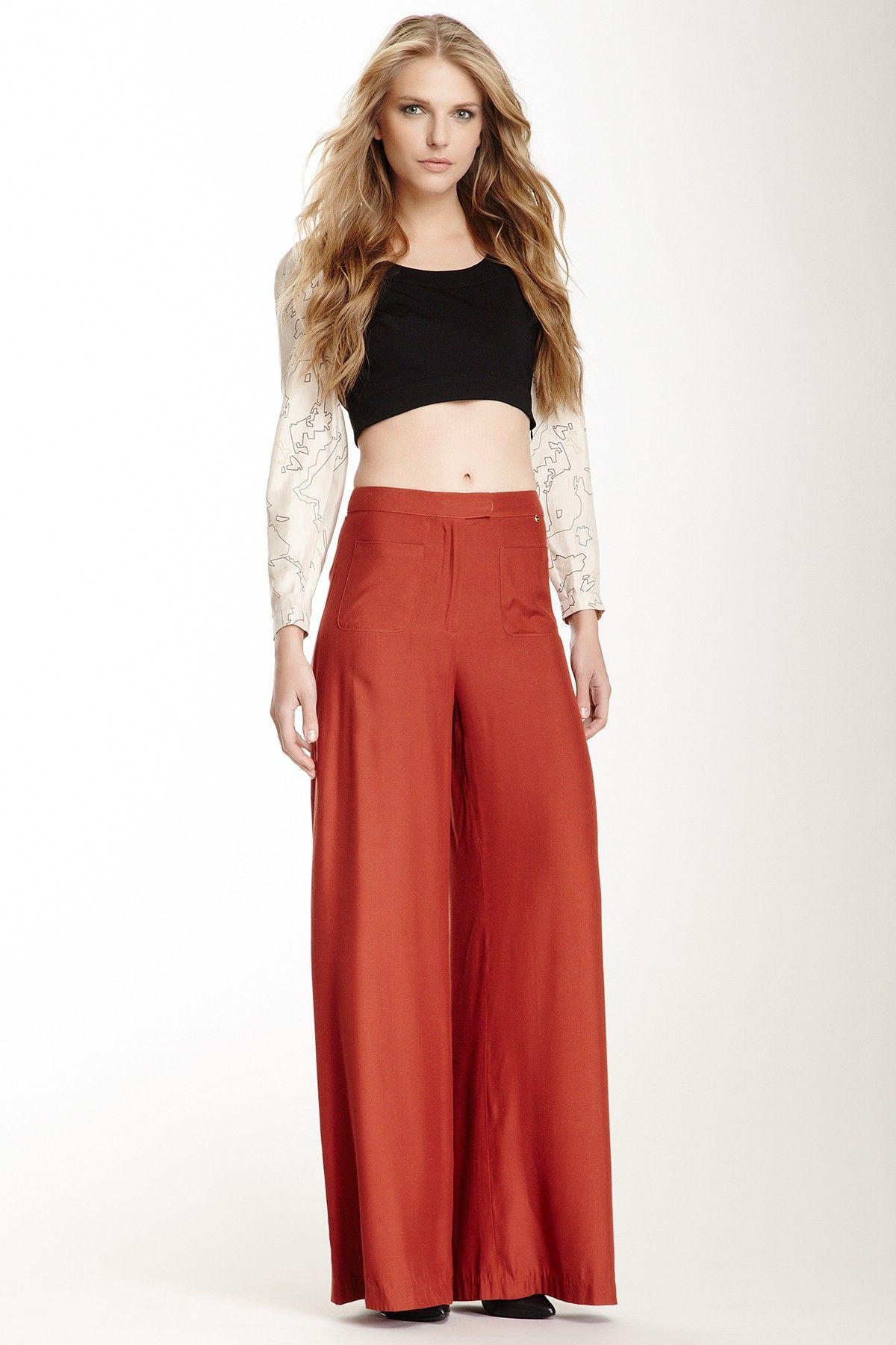 Silk Wide Leg Patch Pocket Trouser