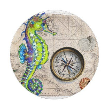 Green Seahorse Compass Paper Plate - shabby unique diy customize  sc 1 st  Pinterest & Green Seahorse Compass Paper Plate - shabby unique diy customize ...