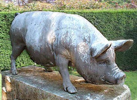 Large Standing Piglet, Hand Refinished. Perfect Garden Ornament, England