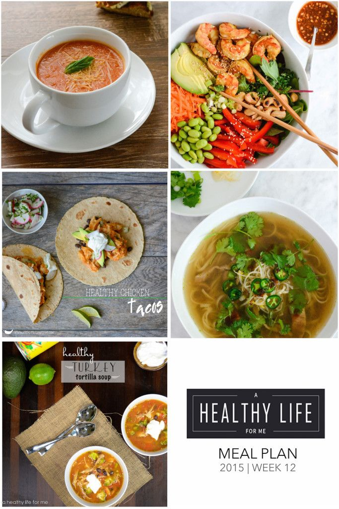 Weekly Meal Plan Week 12  A healthy family friendly menu plan for five weeknight meals, and dessert idea.  Each featured recipe includes link to complete recipe and a shopping list.   This week I kept the recipes light and using leftovers because of Thanksgiving. - A Healthy Life For Me