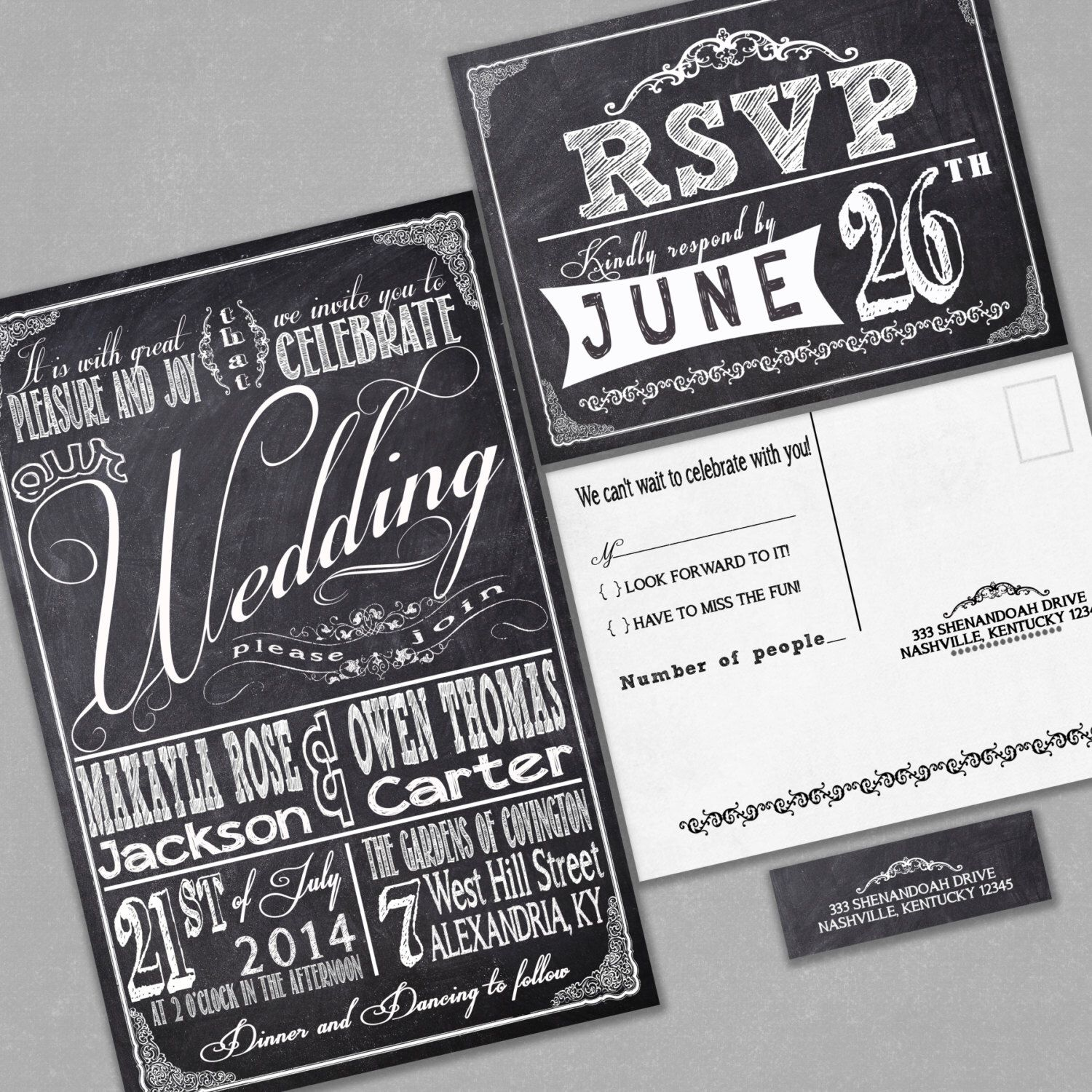 Chalkboard Wedding Invitations Rsvp Cards And Address Labels