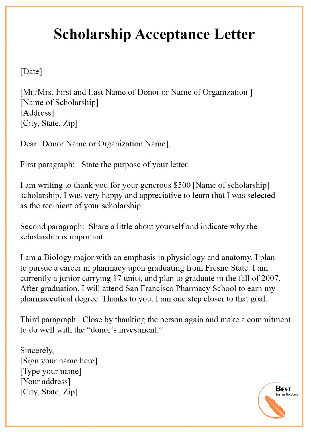 The Marvelous 7 Scholarship Acceptance Letter Template Example Samples Regarding Acceptance Card Template Photo Below Is Other Parts Of Acceptance