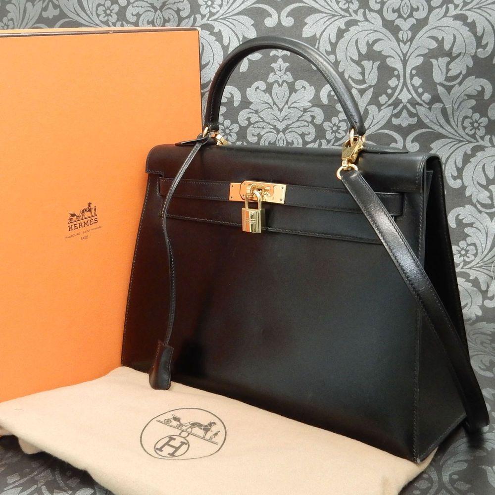 386213b8ff4 Rise-on Vintage HERMES Kelly 32 Box Calf Leather Black Handbag Shoulder Bag   118