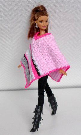 Puppenkleidung häkeln: Poncho ++ Hut
