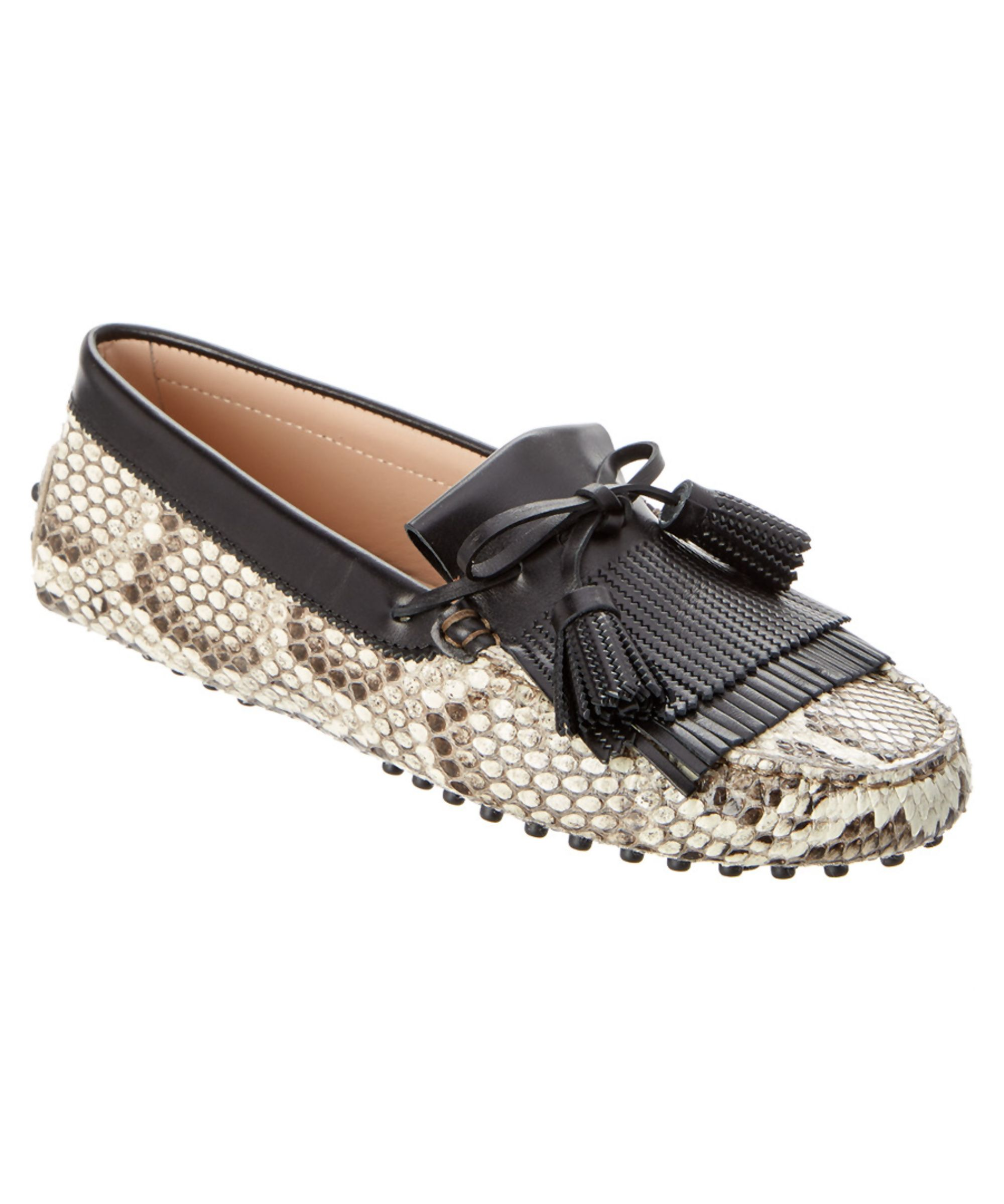 TOD'S | Tod's Gommino Snake Embossed Leather Tassel Driving Shoe #Shoes # Flats #TOD'S