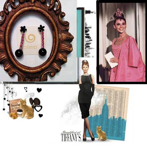 Pink and Black Rhinestone Vintage Earrings Audry Hepburn
