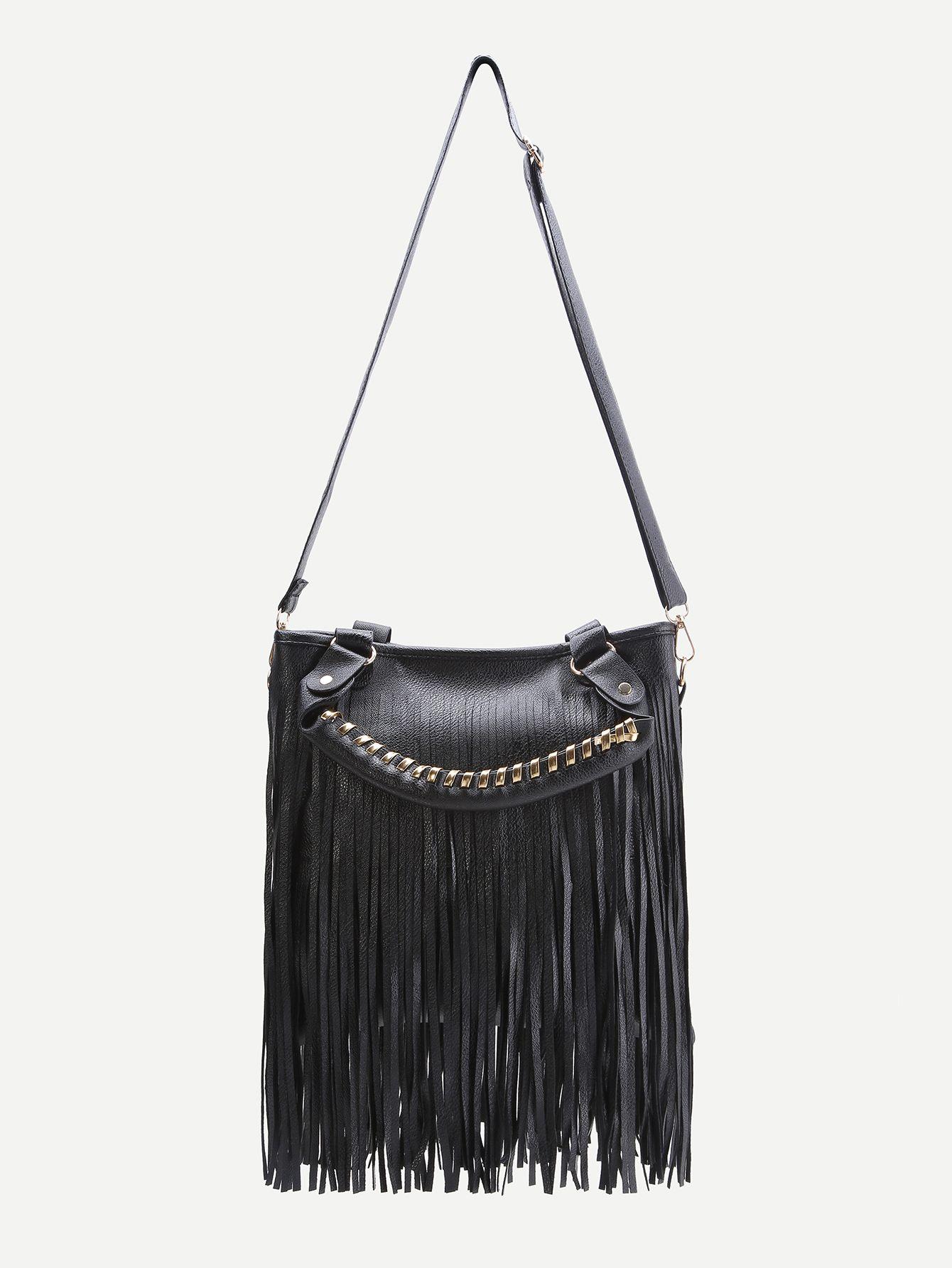 Black Fringe Design Shoulder Bag With Handle