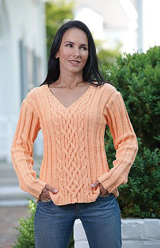 ca7ec2bed1406 Rivka s Cable Sweater by Kathy Zimmerman -- another placement for cables on  a v neck
