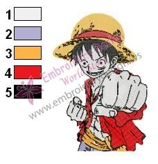 One Piece Monkey Luffy Embroidery Design