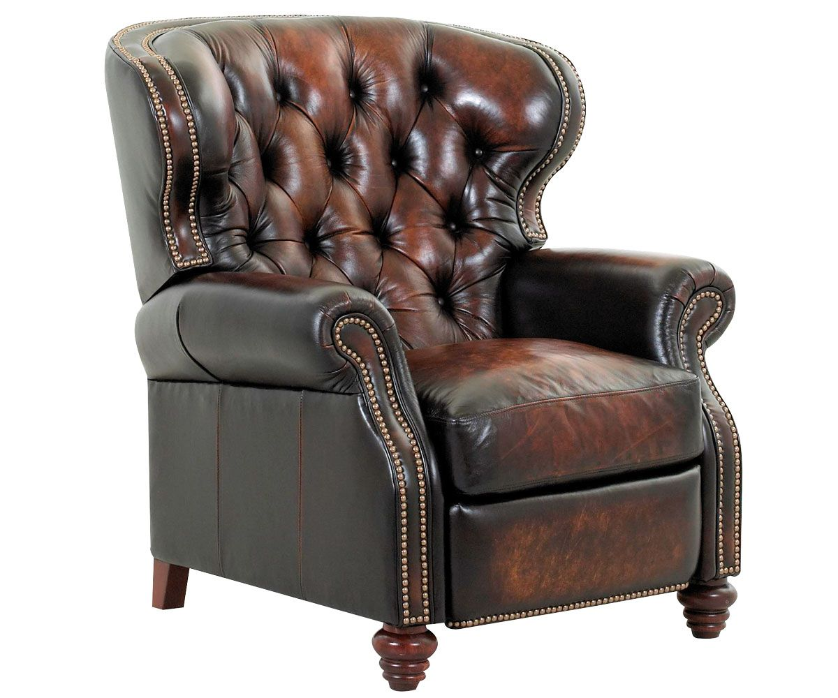Stylish Recliner Arthur Old World Chesterfield Style Wingback Leather