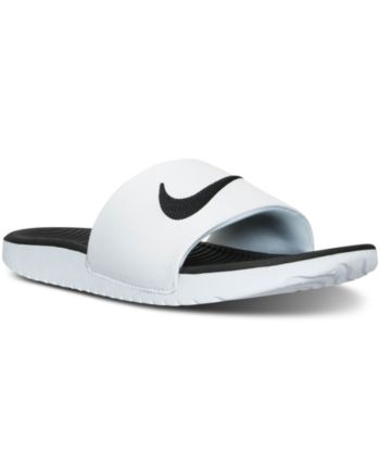 f4d44740d65f Nike Big Boys  Kawa Slide Sandals from Finish Line - WHITE BLACK 5