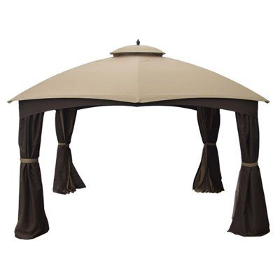 Furniture Legs Lowes Canada allen + roth brown square steel frame gazebo | rust free, side