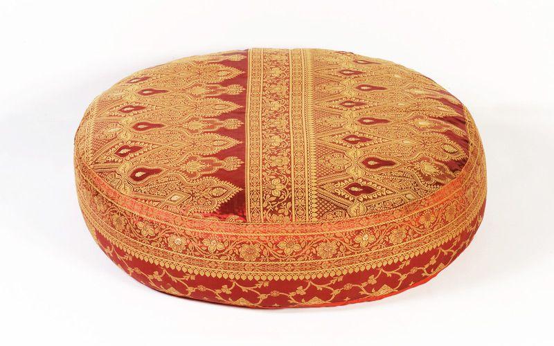 Floor Pillows :: Round Floor Pillows :: Red Sunderi Sari Round Floor ...