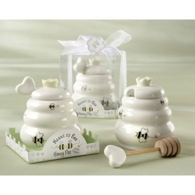 ON SALE!! Meant to Bee Ceramic Honey Pot with Wooden Dipper STARTING AT $3.75