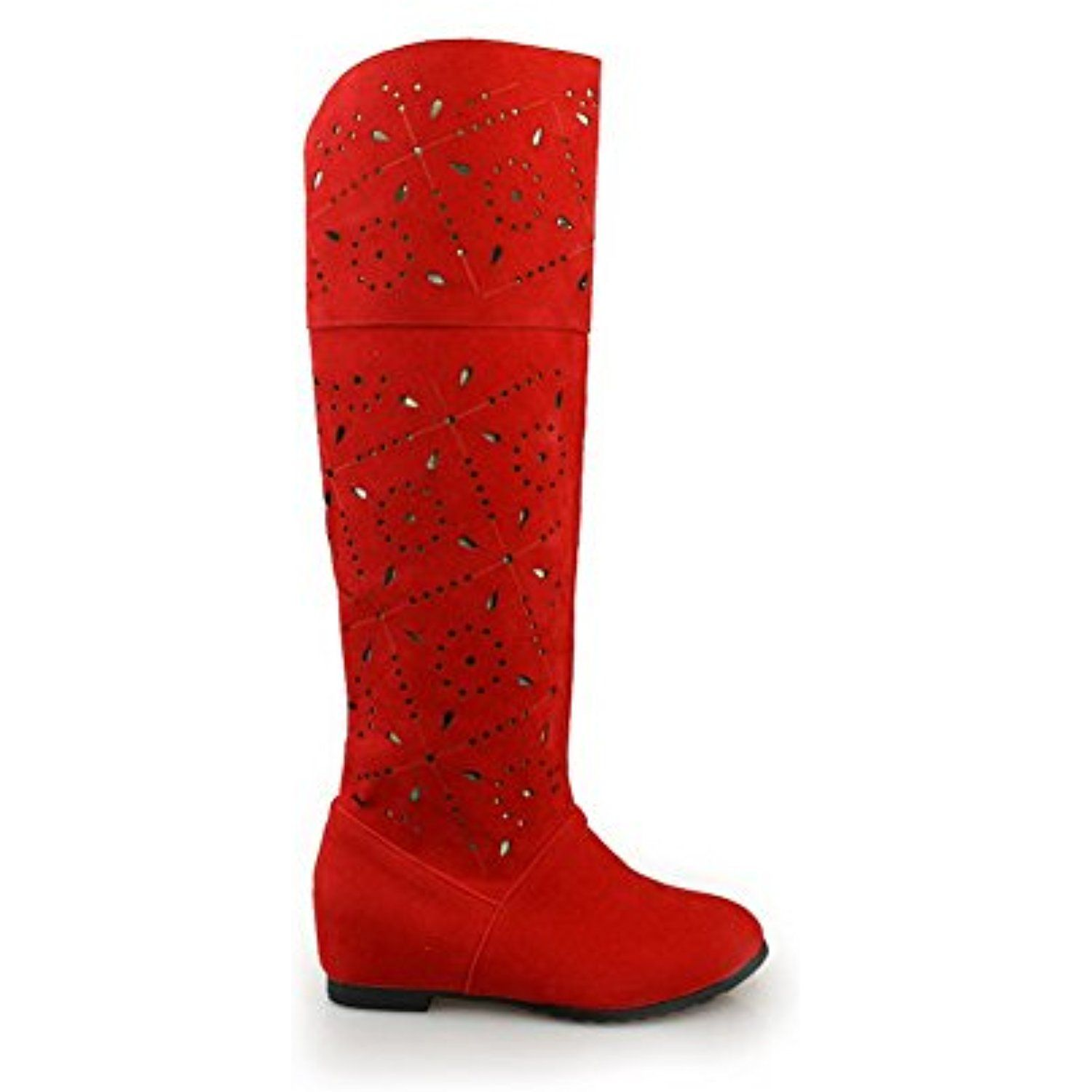 Womens Closed Round Toe Kitten Heels Pu Solid Boots With Hollow Out And Heighted Inside Check Out This Great Product Thi Over The Knee Boots Kitten Heels