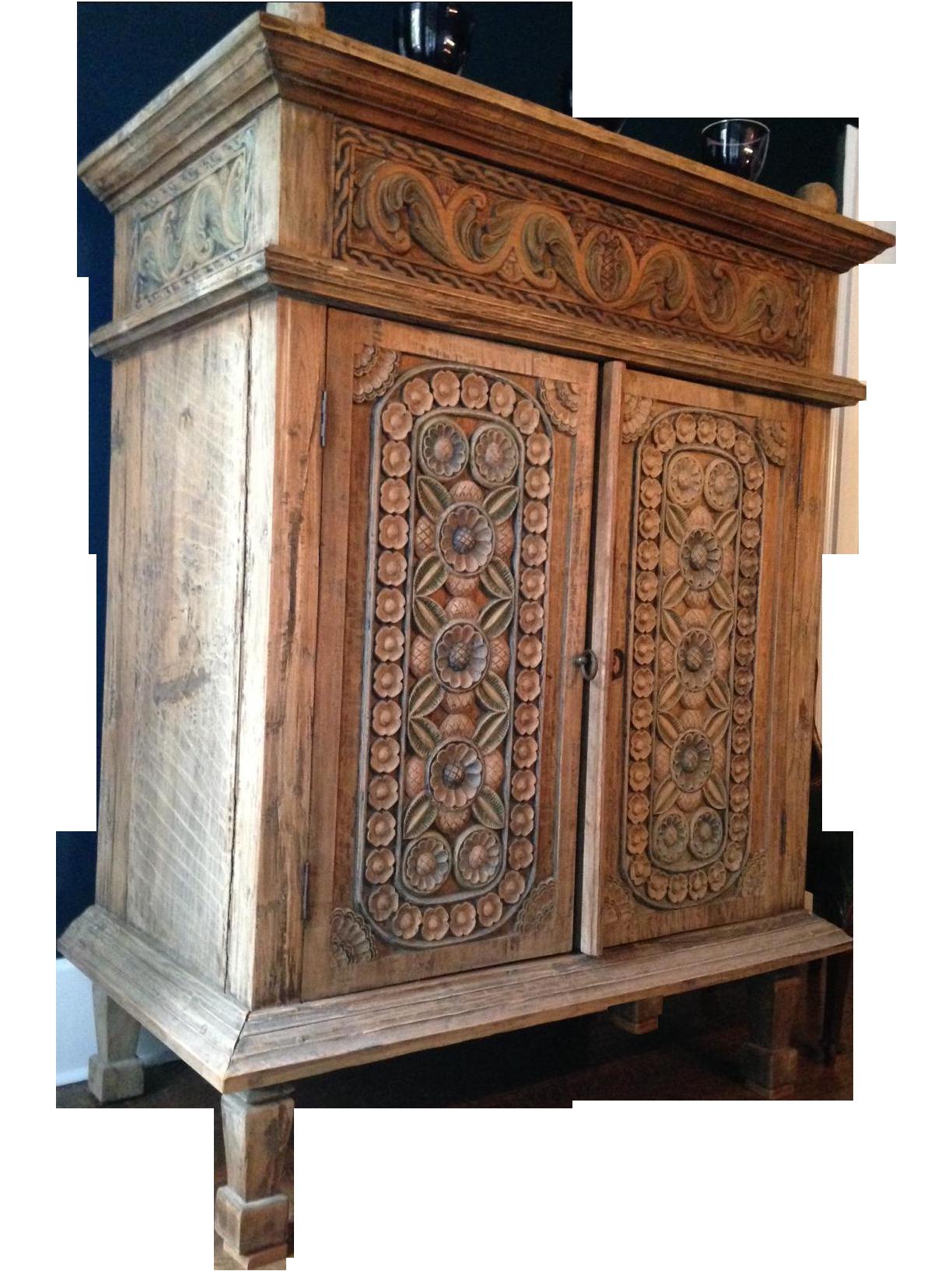 Carved Teak Indonesian Armoire On Chairishcom Bali Furniture