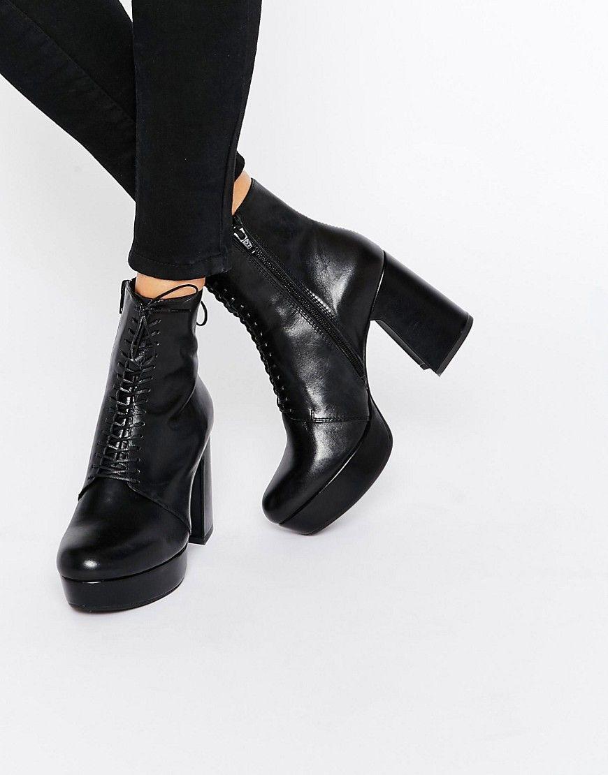 cd360c30b5f7 Image 1 of Vagabond Danila Black Heeled Lace Up Ankle Boots