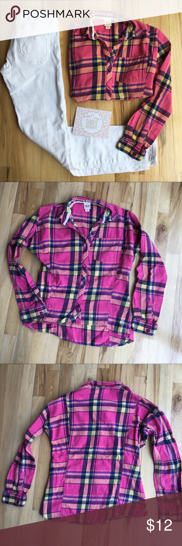 Flannel shirts yellow  Pink and Yellow Plaid Flannel Button Down  Plaid flannel Flannels