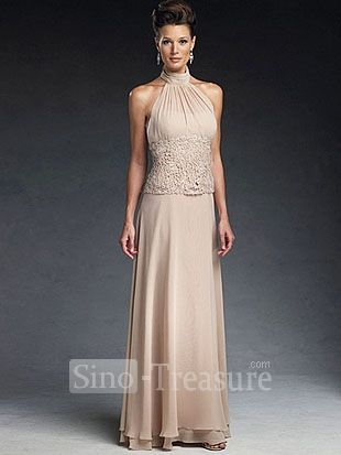Light Champange Satin Chiffon Lace Halter Ruffle Column Floor Length Mother Of The Wedding Dresses