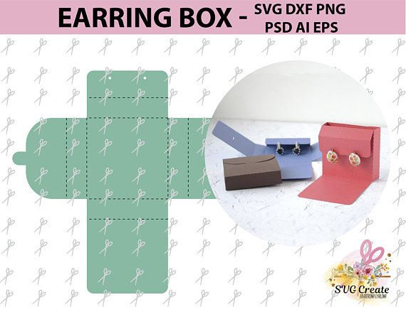 Earring box template card display svg jewelry favor printable gift ...