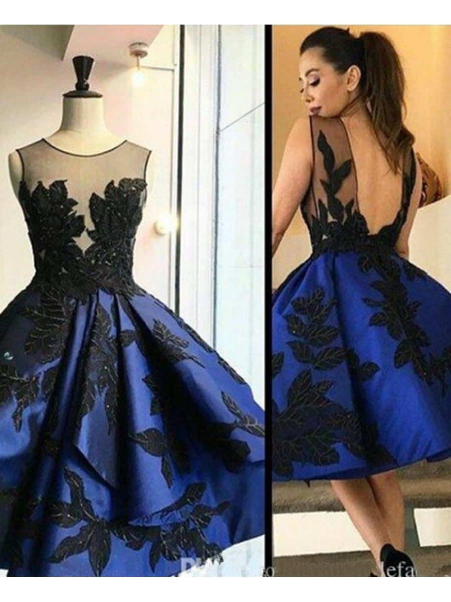 Short royal blue see through homecoming prom evening formal dresses