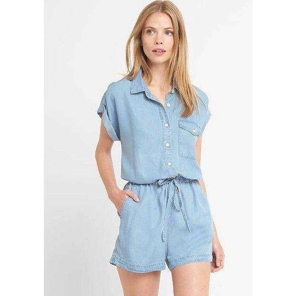 c06decfdd458 Gap Women TENCEL™ Denim Roll Sleeve Romper ( 45) ❤ liked on Polyvore  featuring jumpsuits
