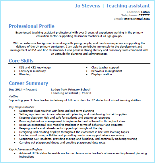 Teaching Assistant Cv Example In Microsoft Word Page 1 Check Out The Full Classroom Assistant Cv Wri Cv For Teaching Teaching Assistant Job Teaching Assistant