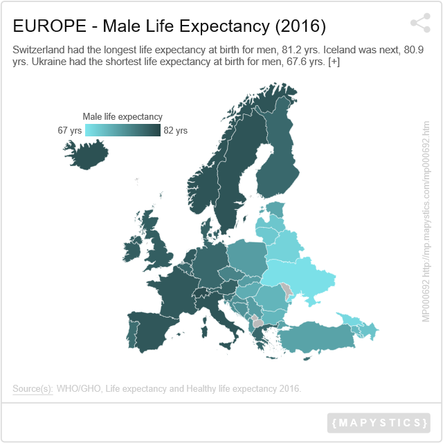 EUROPE Male Life Expectancy 2016 Mapystics Maps
