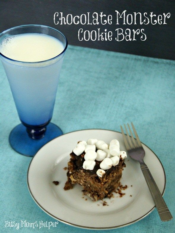 Chocolate Monster Cookie Bars  Busy Moms Helper Chocolate Monster Cookie Bars  by