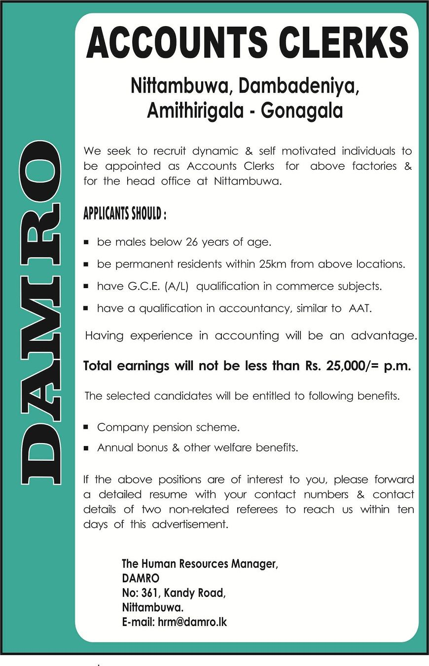Accounts clerks at damro career first accounting jobs accounts clerks at damro career first fandeluxe Gallery