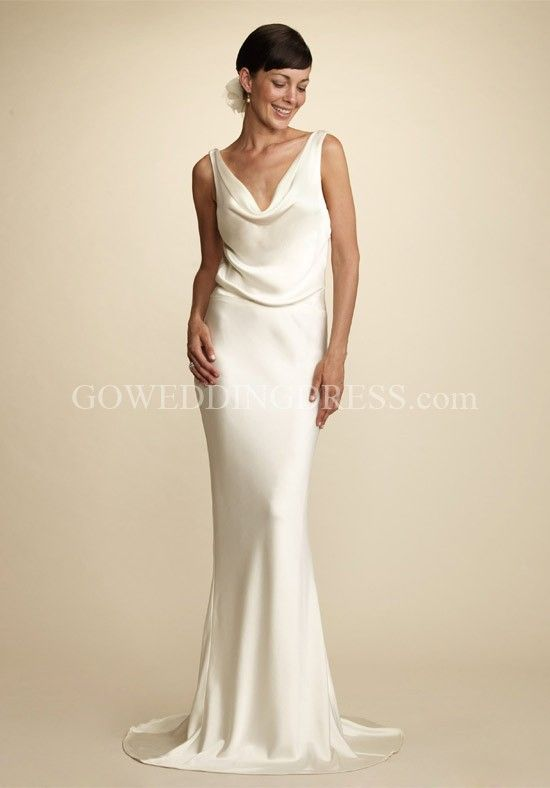 2954254915d3f Sheath V-Neck Floor Length Silk Crepe Back Satin Wedding Dress ...