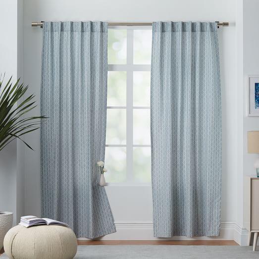 Cotton Canvas Black Eyelet Lined Curtain: Cotton Canvas Bracket Geo Curtain - Moonstone