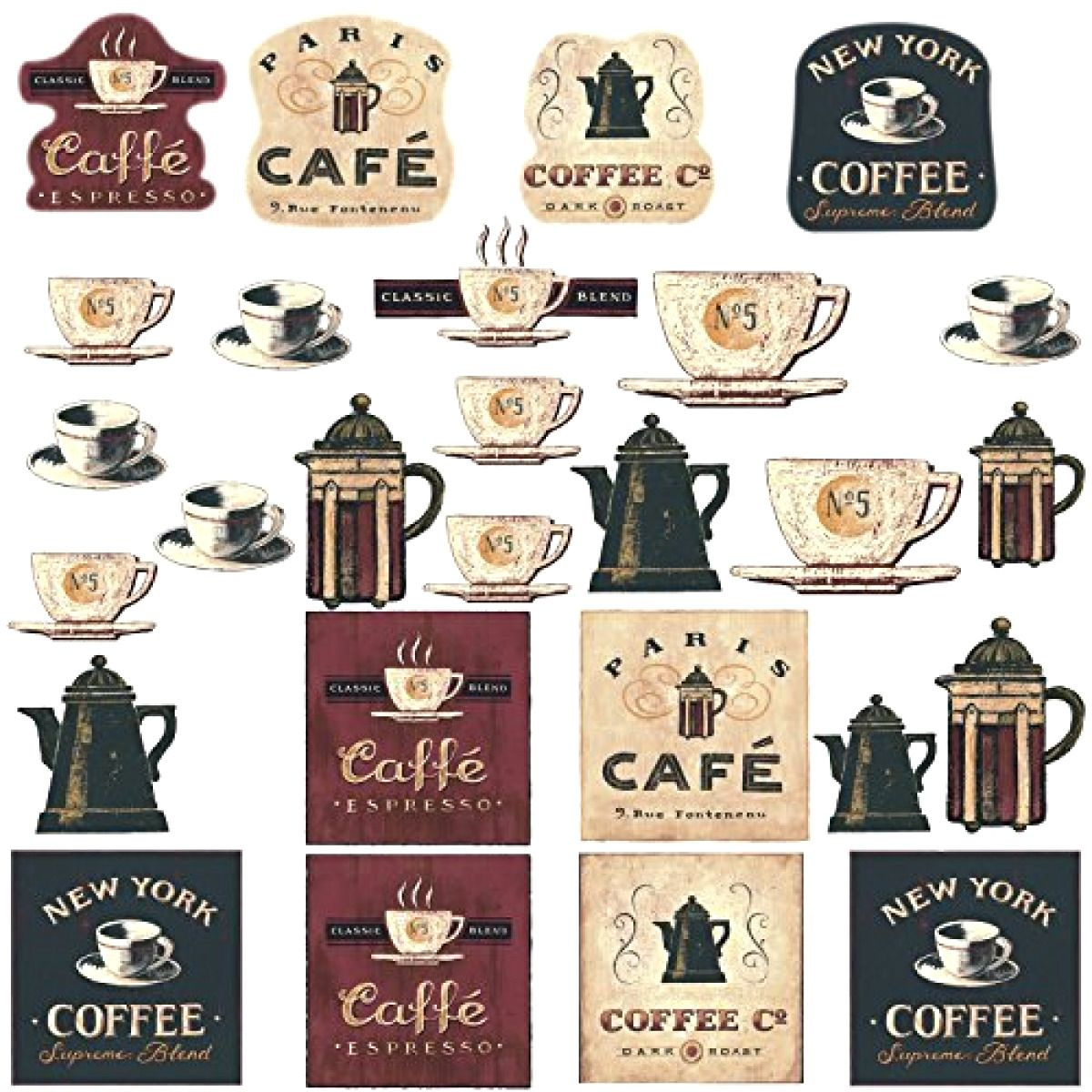 New wall coffee house decals peel stick kitchen decor room removable