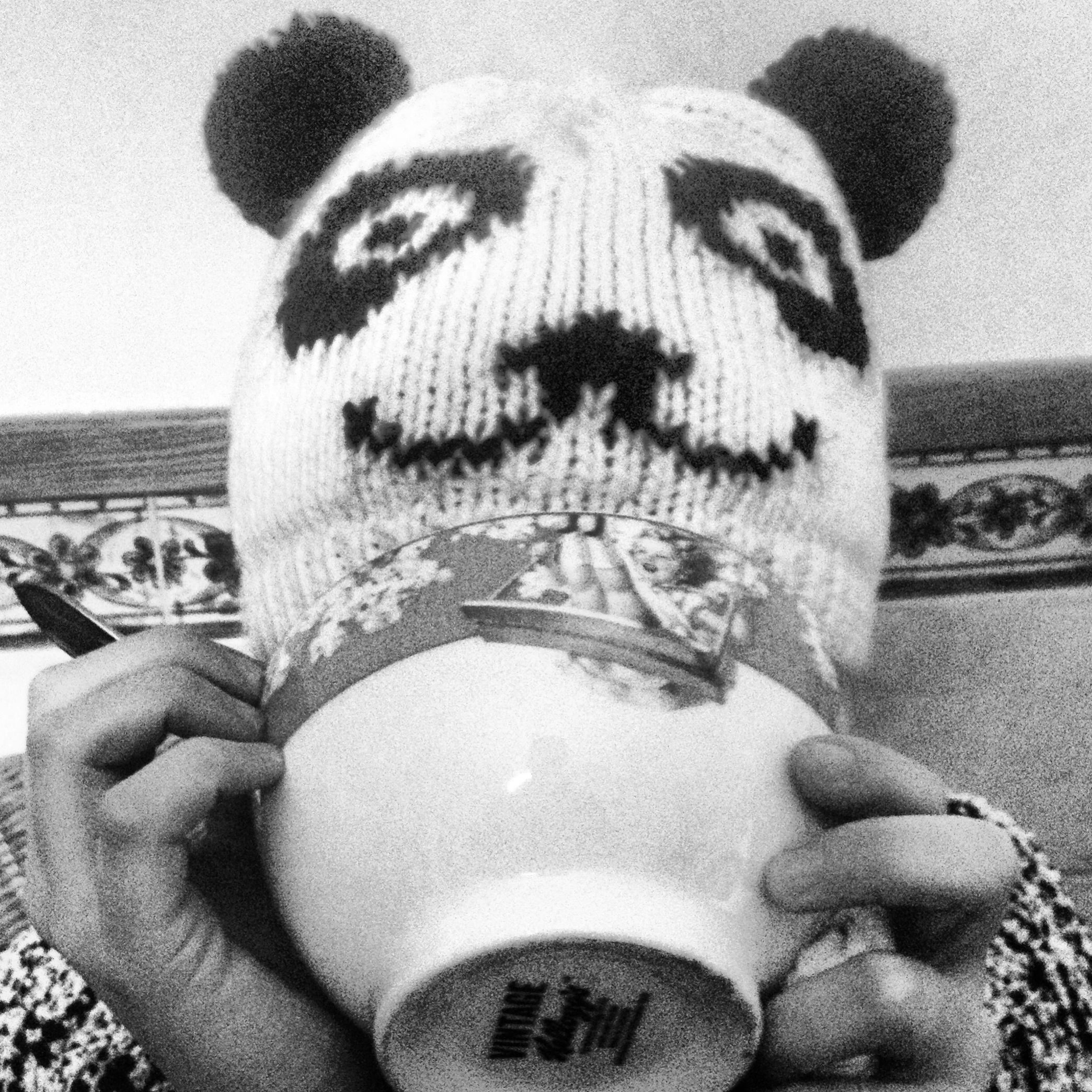Bear drinking milk!
