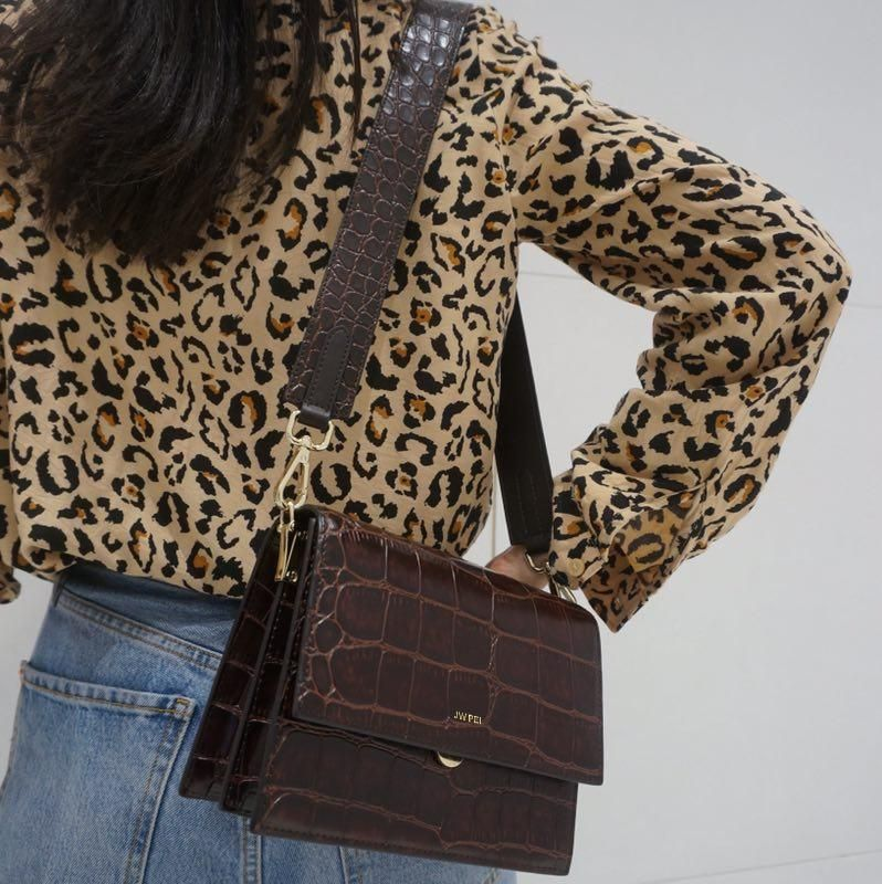 Mini Flap Bag - Brown Croc