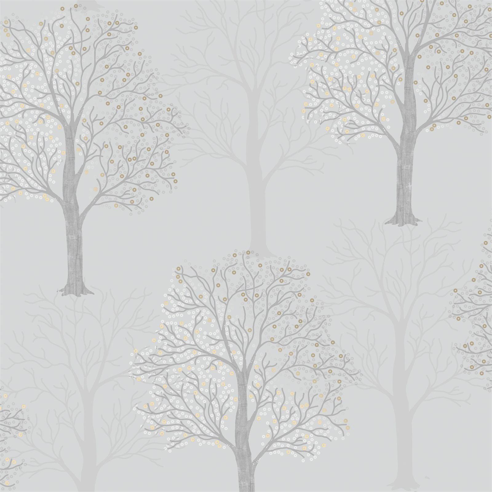 Holden Decor Ornella Tree Embossed Metallic Light Slate