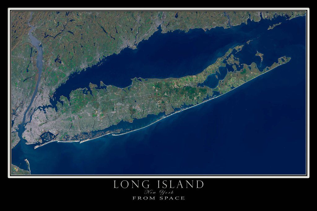 Long Island New York Satellite Poster Map | New York State ... on