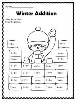 Free Winter Addition Winter Math Winter Addition Worksheets Math Addition