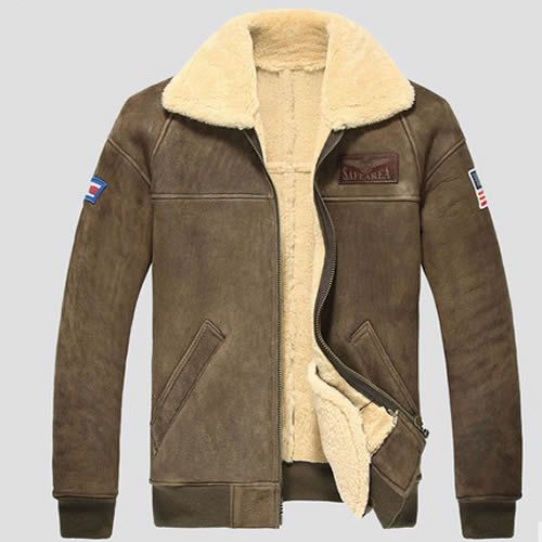 Men Brown Sheepskin Leather Fur US Air Force Style Winter Jackets ...