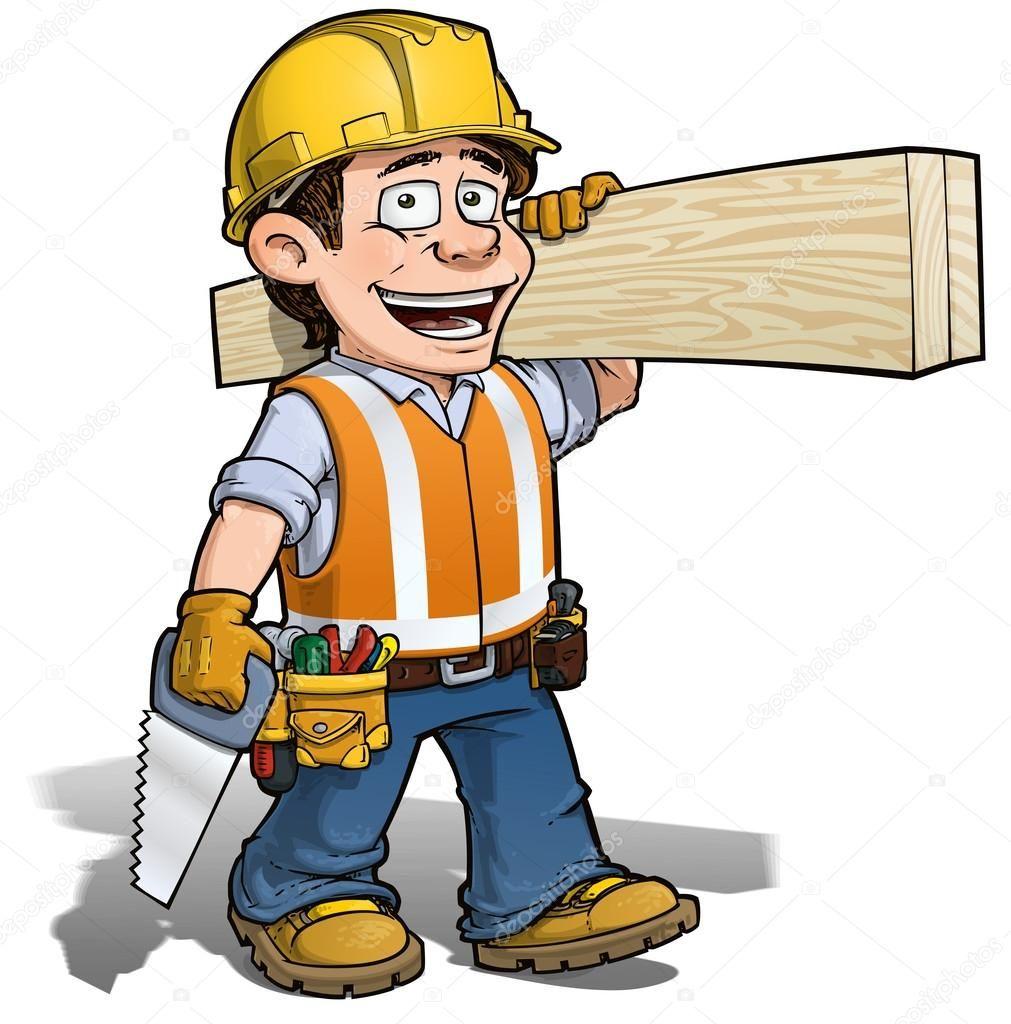 Ilustracion De Dibujos Animados De Un Trabajador De La Construccion Yrken Broder Systrar