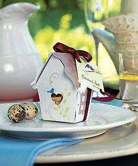 Cute little birdhouse favor boxes with love birds on them, as low as $9.58