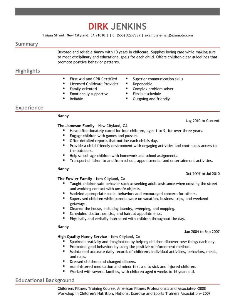 Best Nanny Resume Example (With images) Resume skills