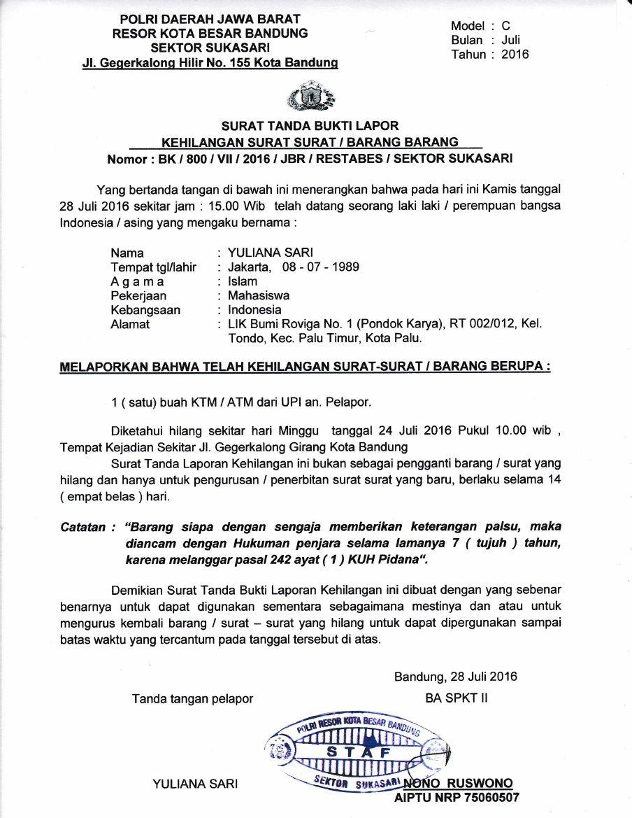 Contoh Surat Tanda Bukti Lapor Kehilangan Surat Barang Dari Kepolisian Vector Photo Surat Bandung