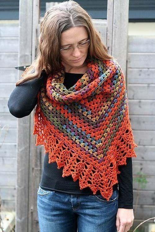 Patron gratis para hacer un chal triangular a crochet02 | crochet ...