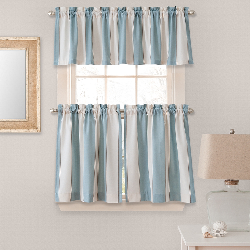 Lauren Stripe Window Curtain Tier Pairs In Blue Curtains Window