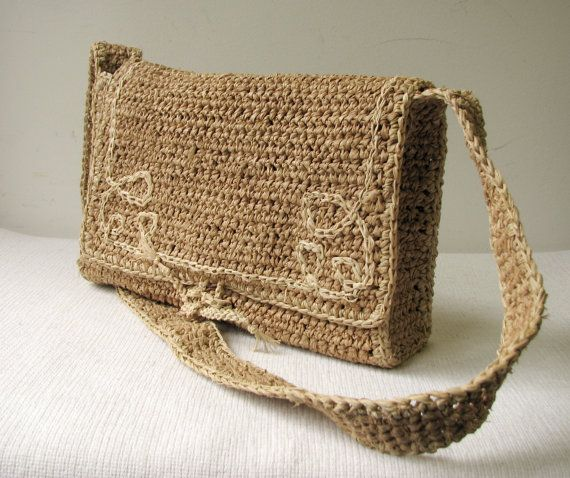 Hand Crochet Natural  Raffia Shoulder Bag by woolsolution