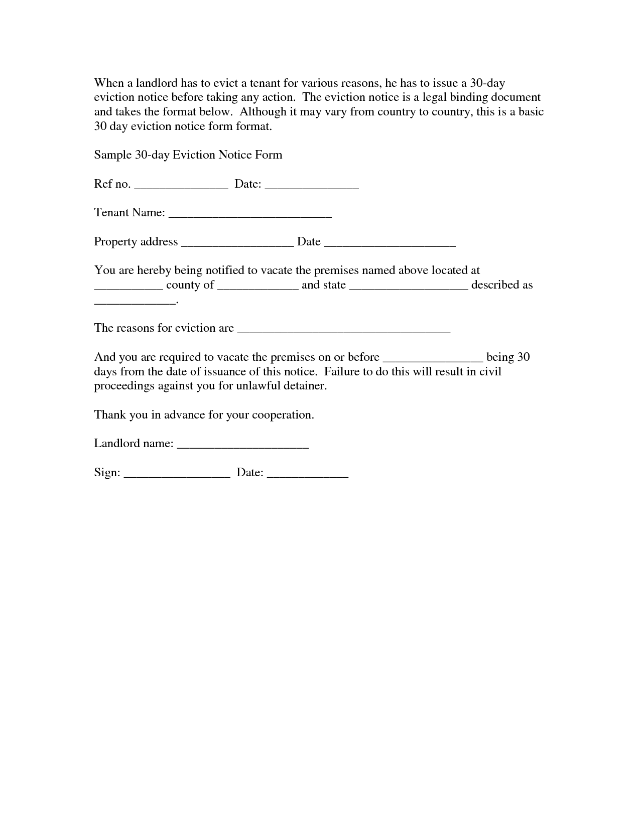 Free Downloadable Eviction Forms – 30 Day Notice Template