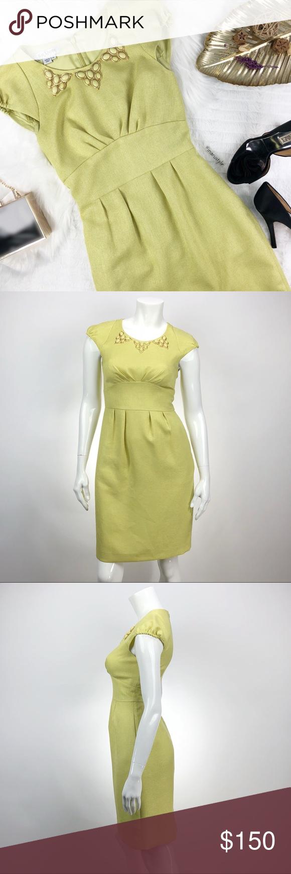 Kay unger ny lime green shift dress size my posh picks
