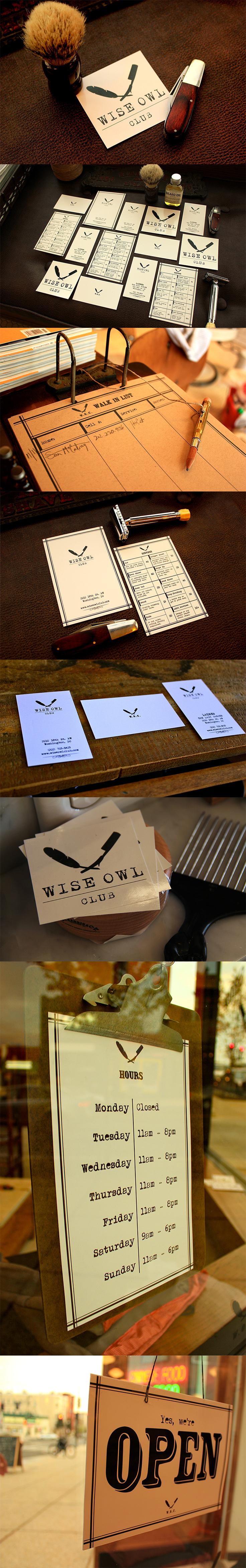 Wise Owl Club Branding, Barbershop, Adams Morgan DC, Business Cards ...