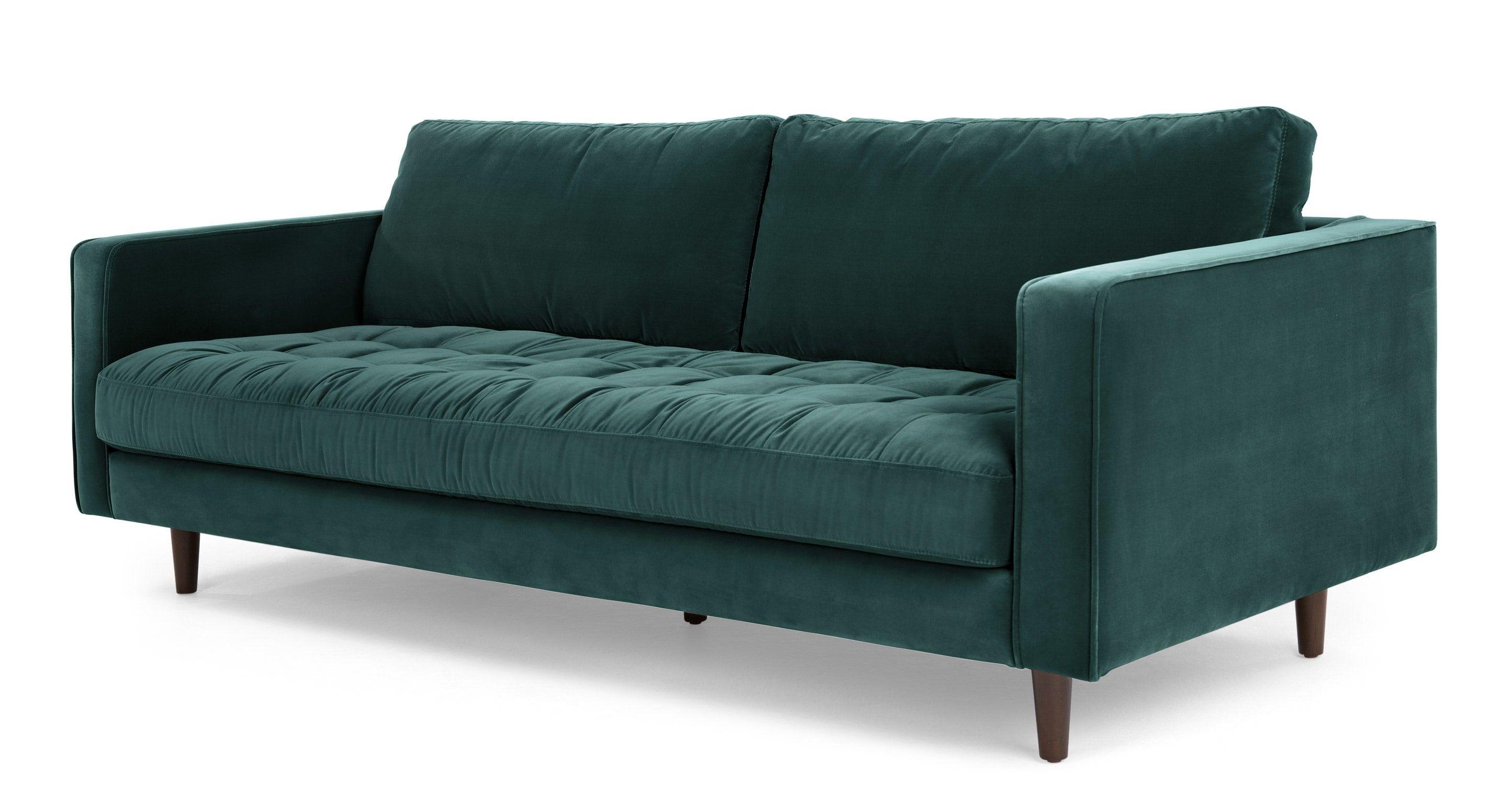 Scott 3 sitzer sofa samt in petrolgr n wohnzimmer for Sofa industriedesign